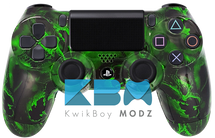 Custom Green Battered Skulls PS4 Controller