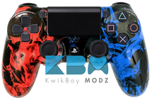 Custom Red Blue Inferno PS4 Controller