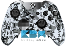 Custom White Digital Camo Elite Controller