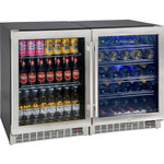 RHINO Matching Combination 300Litre - Dual Zone Beer and Wine Glass Door Bar Fridge YC150-COMBO