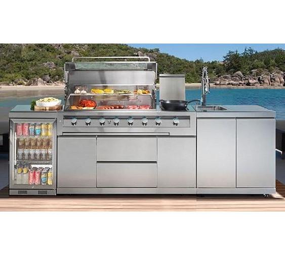 Galaxy outdoor kitchen 6 burner bbq lpg 1 door fridge for Outdoor kitchen with sink and fridge