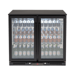 Euro 208L Double Glass Doors Black Beverage Cooler - EA900WFBL