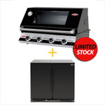 BEEFEATER Signature 3000(E) BS19942 Built In 4 Burner and EURO 208L DOUBLE SOLID DOORS BLACK BEVERAGE COOLER - EA900WSDB