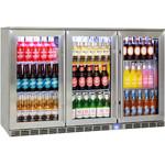 FLOOR STOCK 25% OFF (PICKUP ONLY) Rhino 3 Door Glass Alfresco Bar Fridge Stainless Steel 330L