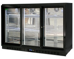 Rhino Energy Efficient LG compressor Black Glass Sliding Doors Fridge SG3S-B