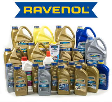 Ravenol's full line up of products including motor oil, ATF, gear oil, coolant / antifreeze, brake fluid, power steering fluid, grease, car care