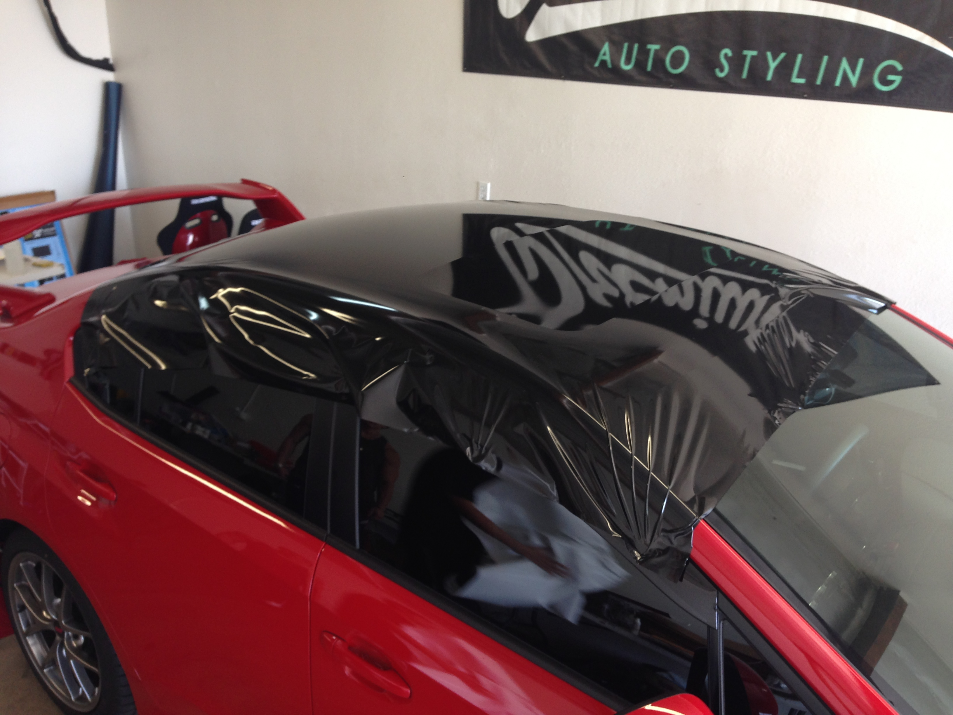 Antenna Fully Wrapped In One Sheet Of 3m Gloss Black Mettalic Vinyl: