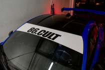 86 Cult Window Banner ( White / Black )