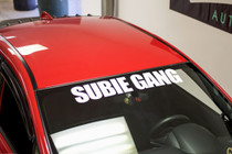 "32"" Subie Gang Windshield  Decal ( White )"