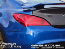2010-2012 Hyundai Genesis Coupe Tail Light  Overlays (Full Red Out)