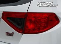 2008-2014 Subaru WRX & STI Hatchback Red Tail Light Tint Overlays w/ Reverse Smoke Cut Outs