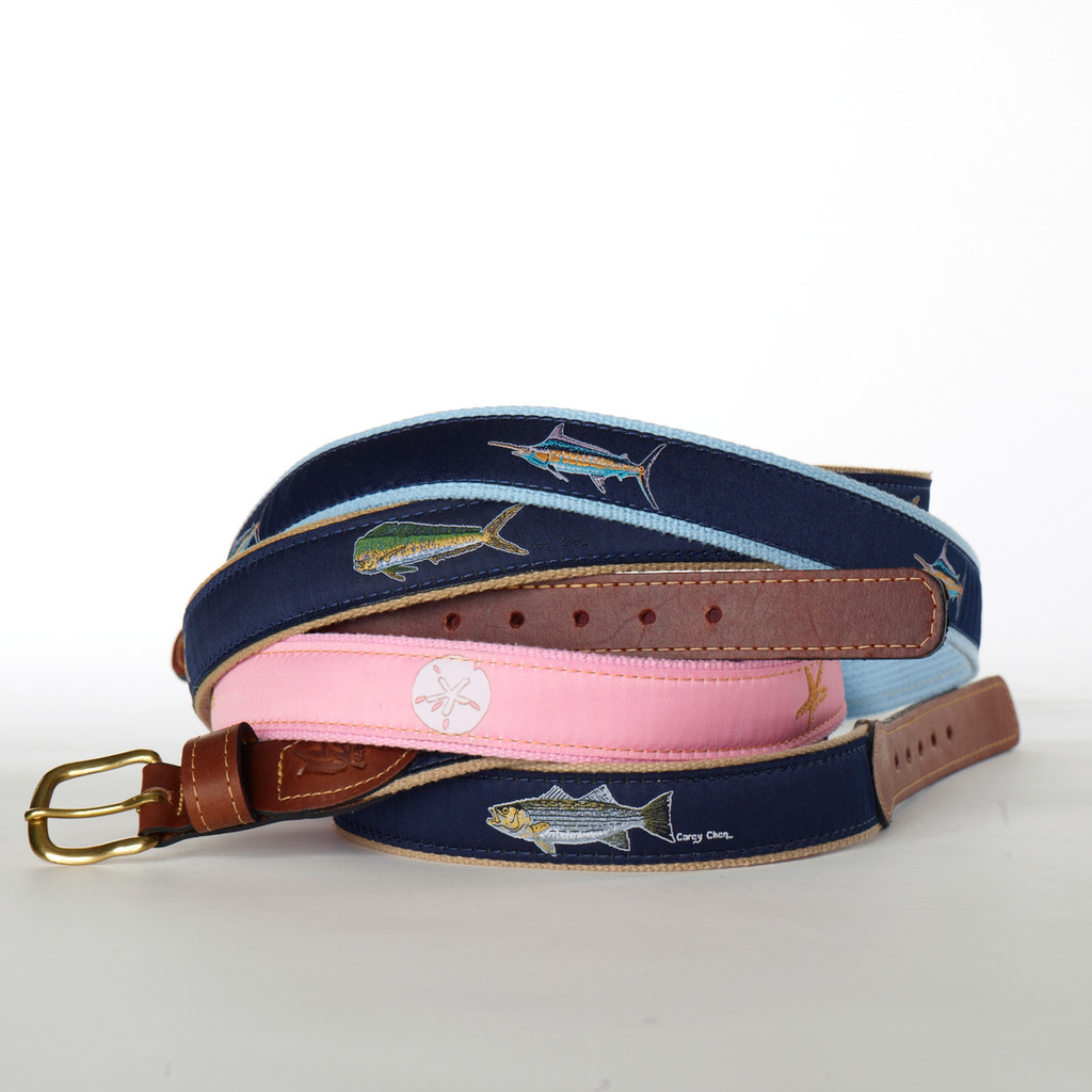 Ocean Rider Brand Handmade Damask Woven Ribbon Belts with Fish Design - Dolphin Belt, Lobster Belt, Sailfish Belt, Sea Shells, Skull/Cross Bones Belt, Striped Bass, US Flag