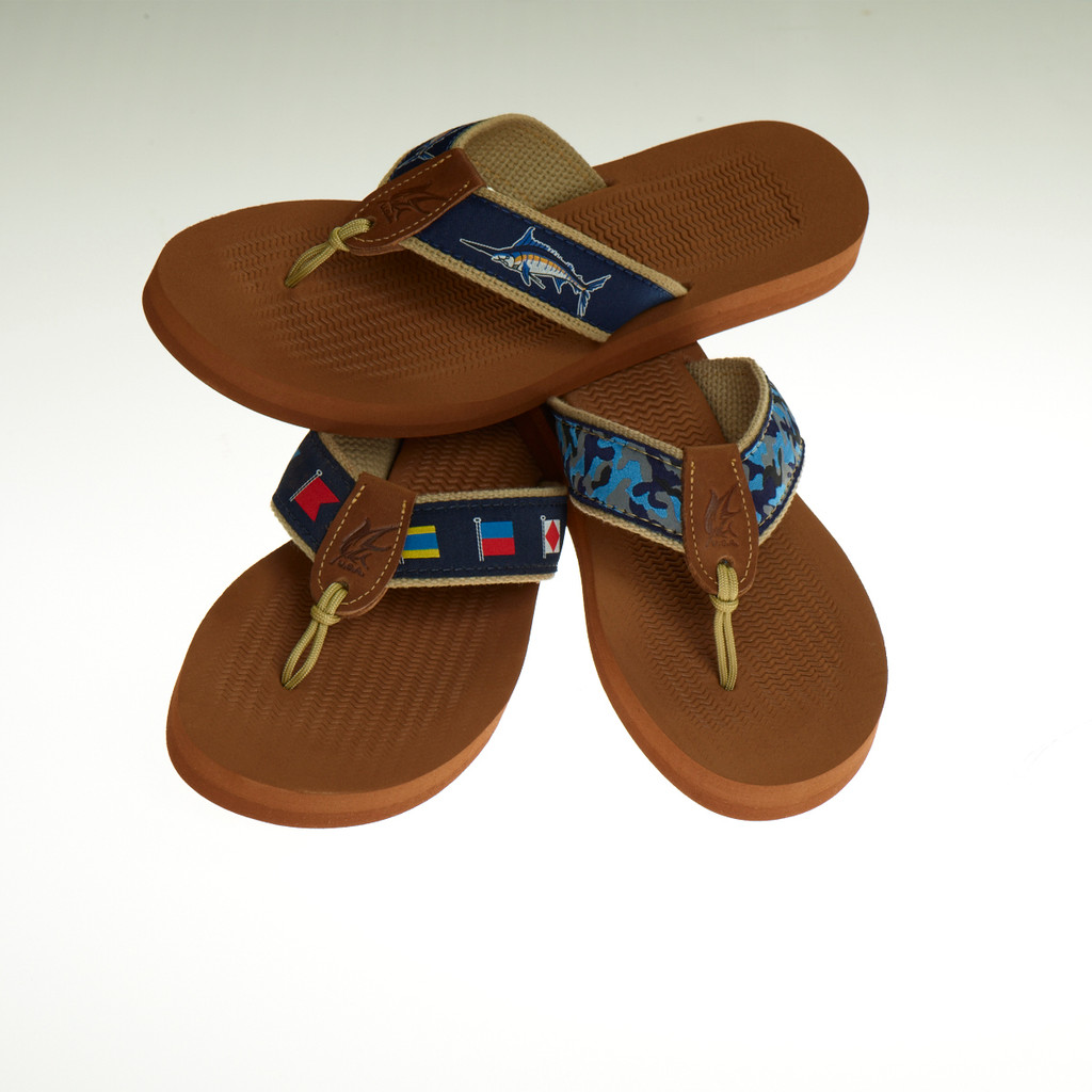 Men's Non-Skid Rubber Sandals with Blue Ribbon Design