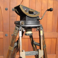 1900's Early Akeley Geared Head & Wood Tripod for 35mm Movie Camera