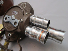 SOLD - Bell & Howell Filmo 70 DL 16mm Movie Camera (No 858050) + Elgeet, Bausch & Lomb Lenses