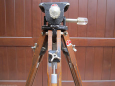 Antique Otto Halmer Wood Tripod with Reversible Legs for 16mm Movie Cameras