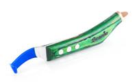 Beanie Wide blade hoof knife with green handle