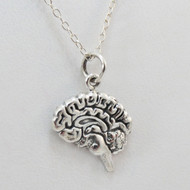 925 Sterling Silver Brain Charm Necklace