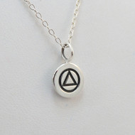 925 Sterling Silver AA Alcoholics Anonymous Charm Necklace