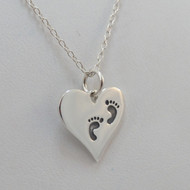 925 Sterling Silver Babies First Footprints Charm Necklace