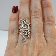 925 Sterling Silver Fancy Lines Ring