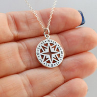 925 Sterling Silver Compass Necklace