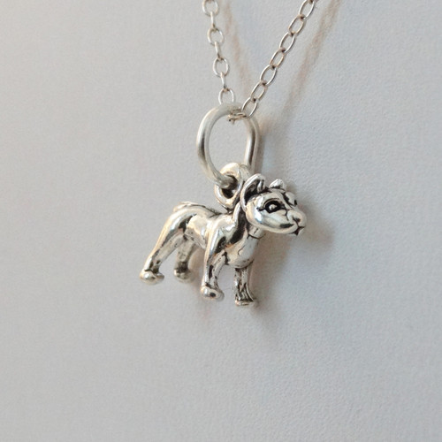 pit bull charm necklace in sterling silver