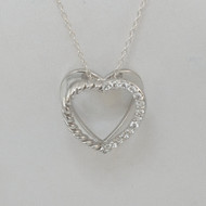 925 Sterling Silver 3-D Heart Necklace