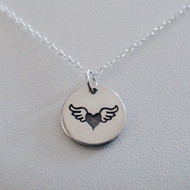 Winged Heart Necklace - Sterling Silver Angel Wing Charm Necklace