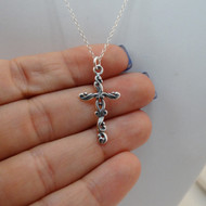925 Sterling Silver Filigree Cross Charm Necklace