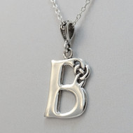 Sterling Silver Celtic Knot Letter Initial B Necklace