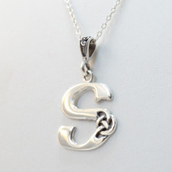 Sterling Silver Celtic Knot Letter Initial S Necklace