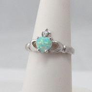 925 Sterling Silver Opal Claddagh Heart Ring