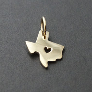 Solid 14K Gold Heart of Texas Charm