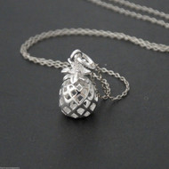 3D Pineapple Necklace - 925 Sterling Silver