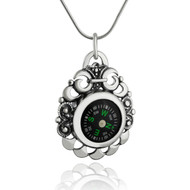 Filigree Working Sterling Silver Compass Necklace