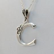 Sterling Silver Celtic Letter C Necklace