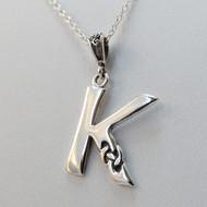 Sterling Silver Celtic Letter K Necklace