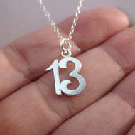 Number 13 Charm Necklace in Sterling Silver