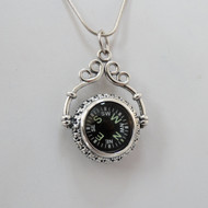 925 Sterling Silver Working Victorian Style Compass Necklace