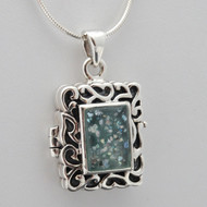 Ancient Roman Glass Locket Necklace - 925 Sterling Silver