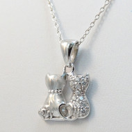 Tiny Two Cats Necklace - 925 Sterling Silver
