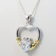 Claddagh Heart Necklace w/CZ - 925 Sterling Silver