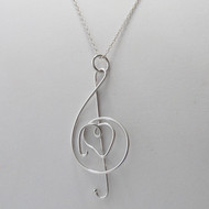Treble Clef Heart Necklace - 925 Sterling Silver