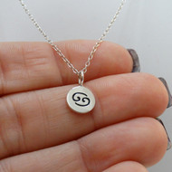 Tiny Cancer Charm Necklace - Sterling Silver