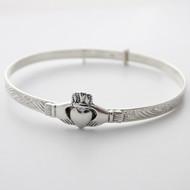 Claddagh Bangle Bracelet - 925 Sterling Silver