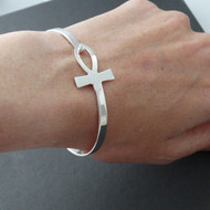 Sideways Ankh Bangle Bracelet - 925 Sterling Silver