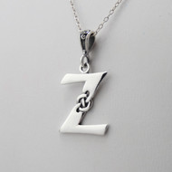 Sterling Silver Celtic Initial Letter Z Necklace