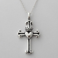 Heart and Crown Cross Necklace - 925 Sterling Silver