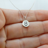 Tiny Taurus Sign Charm Necklace - Sterling Silver